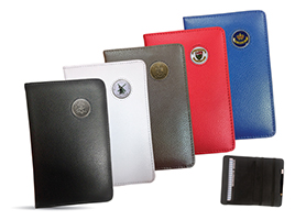 35_14122 Leather ScoreMaster in 5 different colors with Enamel Logo